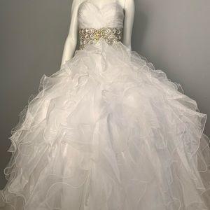 Wedding or quinceañera ruffled dress